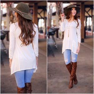 Ivory Ruched Sleeve Front Pocket Asymmetrical Top